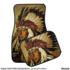 Indian Chief With Full Head Dress Printed Floor Mat
