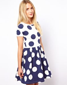 Buy ASOS Skater Dress In Reverse Spot Print at ASOS. Get the latest trends with ASOS now. Dot Dress, Dress Me Up, Dress Skirt, Smock Dress, Henri Bendel, Estilo Fashion, Playing Dress Up, Passion For Fashion, Dress To Impress