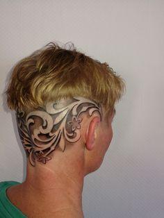Scalp Tattoo, Nagellack Trends, Inked Girls, Tattoos, Hair Styles, Beautiful, Women, Blog, Head Tattoos