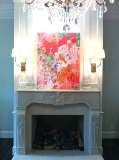 Painting highlighted above fire place ~ The lighting.