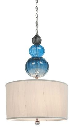 """CAIRN PENDANT, 3 solid-colored, graduated, stacked beads, 5 inch round, brushed nickel or brushed brass canopy and stem, Glass, canopy, and shade are 26"""" long; customer can choose length of chain, Wagon wheel shade, 9 inches high by 17 inches wide, Removable diffuser, 2 sockets, 75 watt max each, Striped finial-(Shown in Glacier with a white silk shade and brushed nickel chain)"""