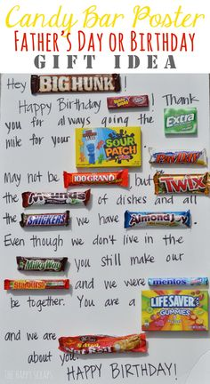 Candy Bar Poster-Father's day for Grandpa with some obvious changes. Perfect for the candy lover. Birthday Card Puns, Birthday Candy, Birthday Gift For Him, Birthday Crafts, Dad Birthday, Birthday Quotes, Birthday Ideas, Birthday Nails, Happy Birthday