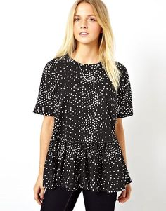 ASOS | ASOS Oversized Smock T-Shirt in Spot Print at ASOS