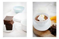 Recipe :: Bittersweet Chocolate and Orange Pot de Crème with Almond Cream