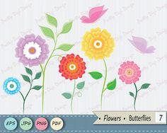 Flower Clip Art Vector Floral Clip Art Flower by PrettyDigiDesign