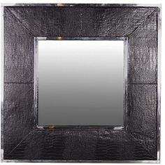 mock croc black leather chrome mirror