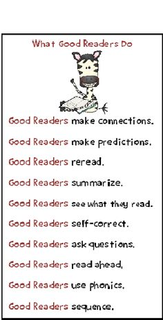 What Good Readers Do - i made this into a sign and posted it by the magazines for the kids to see when they are milling around there during check out time.