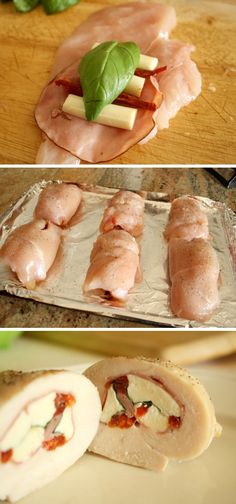 Caprese Stuffed Chicken Roll-Up Cups