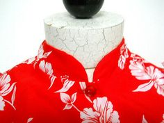 Hawaiian Dress Muu Muu Vtg Red Long Sz 6 White Flowers Mandarin Collar Hawaii #hawaiian #luau #aloha