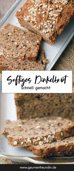 Healthy wholemeal spelled bread with flax seeds-Gesundes Dinkel-Vollkornbrot mit Leinsamen Super juicy dark red – quickly made and very changeable GUMFRIENDE Bread bake - Pampered Chef, Food Blogs, Bread Recipes, Banana Bread, Breakfast Recipes, Recipes Dinner, Bakery, Food And Drink, Breads