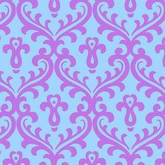 Joyful Purple/Lavender on Blue Damask by by FabricWhimsyToo
