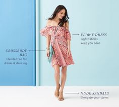 Stitch fix spring 2016 Off shoulder flowy dress nude sandals and cross body bag