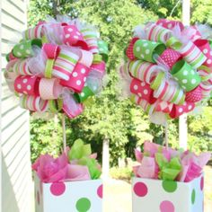 Saw this idea somewhere-- fun centerpiece for a birthday party or baby shower ....I am sure you can change the colors it make it more  masculine!