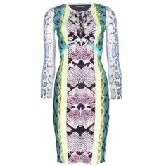 Roberto Cavalli Snake-Print Satin-Jersey Dress ($499) ❤ liked on Polyvore
