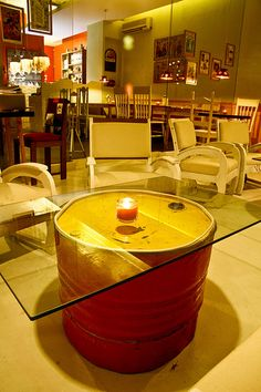 Oil drum table - this would be cool with a wood top for an outside table Drum Chair, Drum Table, Dining Table, Recycled Decor, Oil Barrel, Metal Drum, Steel Barrel, Oil Drum, Reuse Recycle