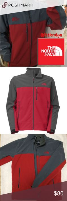 North Face TNF™ Apex ClimateBlock jacket Versatile enough to be layered for seasons of wear, this windproof and virtually waterproof jacket is ideal for active athletic and outdoor pursuits when you need to protect your core from the wind. Red/Asphalt Gray.  TNF™ Apex ClimateBlock fabric rated at 0 CFM (100% windproof) Zip chest media pocket Hem cinch-cord adjustment in pockets.   Molded cuff tabs Napoleon chest pocket. bluesign® approved fabric 96% polyester, 4% elastane ✨All Prices…