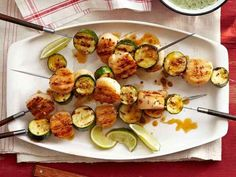 Spiced Scallop Zucchini Kebabs   31 Foods On A Stick That Are Borderline Genius