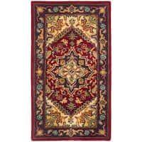 Safavieh Handmade Heritage Traditional Heriz Red/ Navy Wool Runner (2'3 x 4')