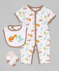 Look at this White Dinosaurs Romper Set - Infant on #zulily today!