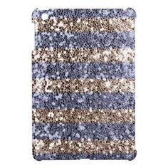 Girly Glitter Look Stripes in Violet Silver Case For The iPad Mini