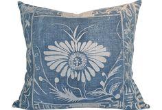 Indigo Batik Sunflower Pillow I