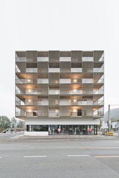 a f a s i a: architekten berger. High Building, Building Facade, Building Design, Facade Architecture, Contemporary Architecture, Social Housing, Balcony Design, Facade Design, Brentford
