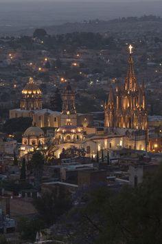 San Miguel de Allende, La Concepcion church (Las Monjas) at night, Province of Guanajuato, Mexico