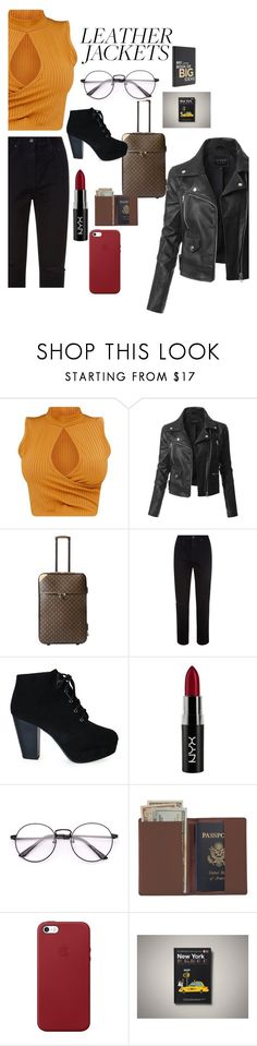 """""""❤️❤️"""" by jiyaaa ❤ liked on Polyvore featuring LE3NO, Louis Vuitton, AG Adriano Goldschmied, NYX, Royce Leather, Apple and Parasol"""