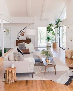 Find out why modern living room design is the way to go! A living room design to make any living room decor ideas be the brightest of them all. Cozy Living Rooms, My Living Room, Living Room Interior, Home And Living, Living Spaces, Tree Interior, Interior Ideas, Living Area, Living Room White