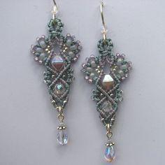 Macrame and Glass Bead Earrings -