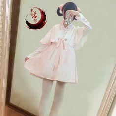 中华风-樱 樱花刺绣交领连衣裙+斗篷两件套软妹少女可爱