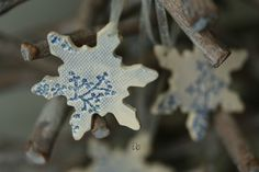 Snowflake Pottery Lace Decoration White Blue Ceramic by Ceraminic
