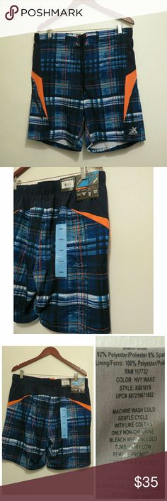 NWT Men's Swim Trunks Board Shorts Med Lrg +New with tags, perfect for family trips to Disney or vacation! ZeroXposur dude's/guys swim trunks / board shorts. Never tried on/used. Comfort inner liner and hidden coin feature. Blue/orange plaid watercolor pattern. UPF 50 and sizes Medium and Large available. +Thanks for shopping this SAHM's Suggested User closet! --Jen ZeroXposur Swim Swim Trunks