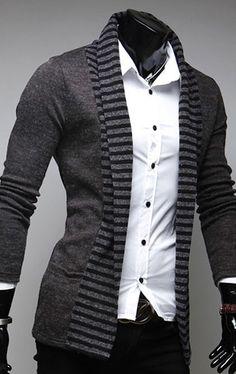 Men's UK Style High Quanlity long sleeve cardigan Stylish stripe Coats M-XXL on Etsy, $38.93