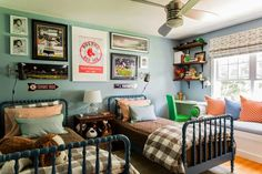Twin Jenny Linds in that gorgeous navy. Also love the windowseat and art placement. And gingham duvets! - Home Decor Like Shared Boys Rooms, Baby Boy Rooms, Toddler Rooms, Girl Rooms, Toddler Bed, Boys Room Design, Ideas Hogar, Murphy Bed Ikea, Design Furniture