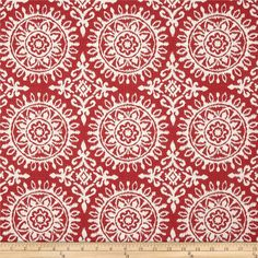 Robert Allen Suzani Strie Jacquard Red Lacquer from @fabricdotcom  Refresh and modernize any home decor with this medium/heavyweight jacquard fabric. Perfect fabric for revitalizing an old piece of furniture and updating it with a new look. This fabric is an appropriate weight for accent pillows, slipcovers and upholstering furniture, headboards and ottomans. Colors include red and white.