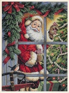 Candy Cane Santa: Cross stitch (Dimensions, D08734)