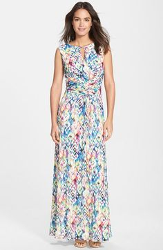 Ellen Tracy Print Ruched Maxi Dress available at #Nordstrom