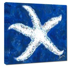 More blue and white beach wall giclee art for your beach home - a large white starfish image, surrounded by a varied blue background.