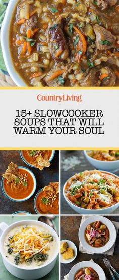 Save these slow cooker soup ideas for later by pinning this image and follow Country Living on Pinterest for more.