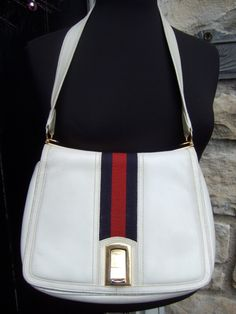 GUCCI 1970s White Leather Handbag with by worldmarketproductio