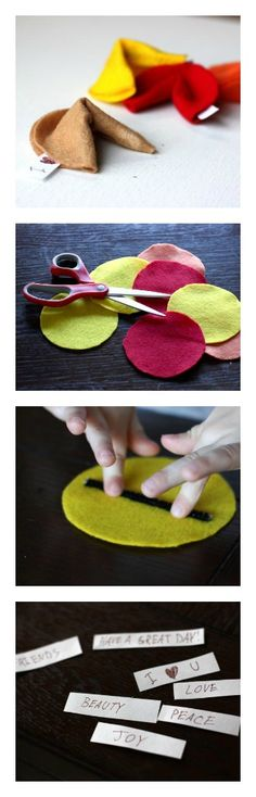 Felt Fortune Cookies - great to make for Valentine's Day or party favors