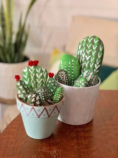 This Painted Rock Cactus Garden is a Fun DIY Project for All Ages! | 1000 - Modern Painted Rock Cactus, Painted Rocks, Rocks Garden, Small Flower Pots, Unicorn Themed Birthday, Green Craft, Tissue Paper Flowers, Boho Diy, Cool Diy Projects