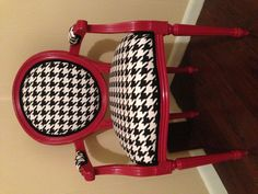 Houndstooth recovered chair painted crimson