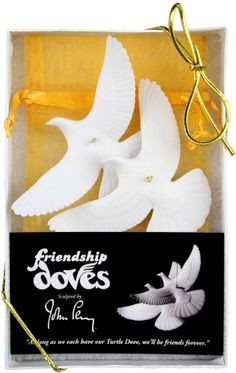 Friendship Doves - 2 Turtle Dove Ornaments