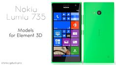 Nokia Lumia 735 for Video Copilot's Element 3D. Product Link: http://store.cgduck.pro/element-3d/nokia-lumia-735.html