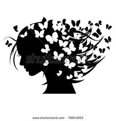 vector illustration of beautiful women silhouettes with different butterflies in the head