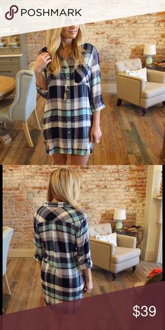 """Long sleeve plaid button up dress Modeling size small. 100% rayon. Bust laying flat: S 19"""" M 20"""" L 21"""" length S 33/34"""" M 34/35"""" L 35/36"""". Add to bundle to save when purchasing. SP11000110 Dresses Long Sleeve"""