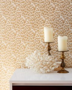 GAAR Gold - Clay coated wallpaper by Relativity Textiles. Hand screen printed in the USA; sold by the double roll (30' length).