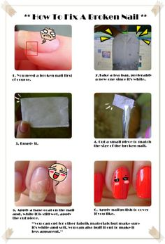 I simplified the tutorial in a pic. Credits to >> http://konadnails.blogspot.com/2011/09/how-to-fix-broken-nail.html << ;) YAY!